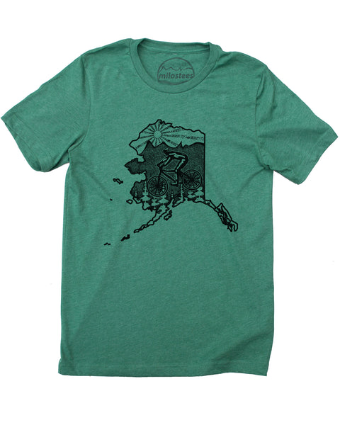 Alaska Home Shirt- Mountain Bike Print on Soft 50/50 Tee's