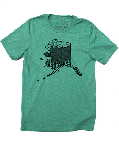 Alaska Home Shirt with Mountains, Trees and Sun for the Alaskan Experience! Screen Print on soft 50/50 Tee's