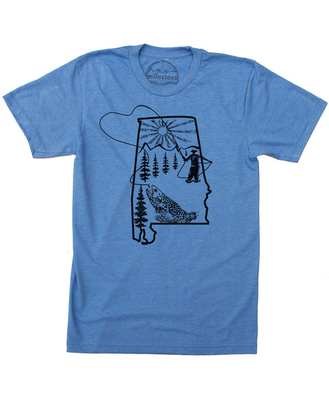 Alabama Home Shirt | Original Fly Fishing Graphic | Hand Print on Soft 50/50 Tee's | Elevate the Day!