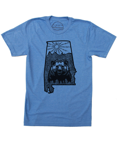 Alabama Shirt | Nature illustration with Black Bear | Hand Screen Print on Soft 50/50 Threads | Elevate the Day!