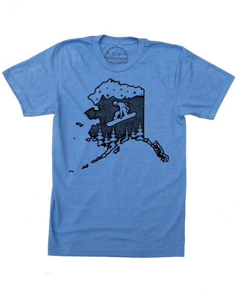 Alaska Snowboard T-shirt, Soft Threads Screen Printed by hand and shipped free in the USA