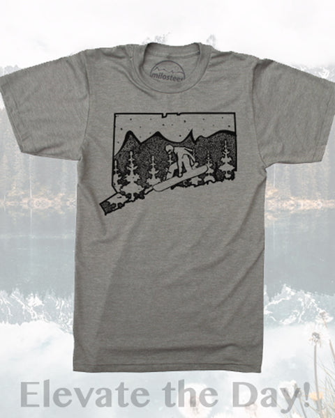 Connecticut T Shirt- Snowboarder Shredding the Constitution State- Screen Print on Soft 50/50 Tee Shirts.