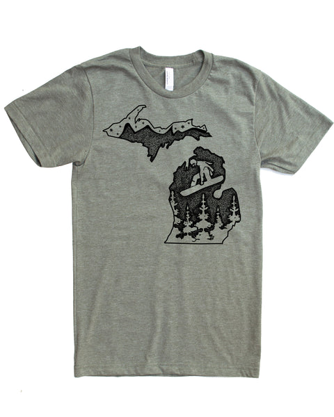 Michigan Snowboard T-shirt- Board the Wolverine State in a Powdery Soft 50/50 Tee that will Elevate your Day!