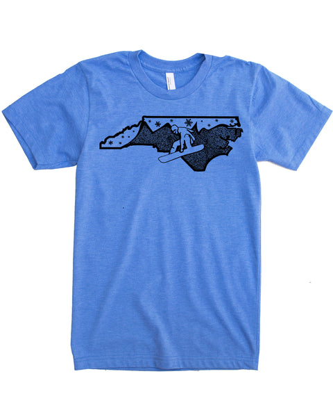 North Carolina Snowboard T-shirt, Ski the Blue Ridge Mountains in Soft 50/50 Threads and Elevate the day!