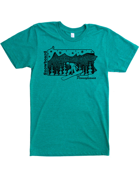 Pennsylvania T-shirt- Snowboard graphic on soft 50/50 tee's- Ski the Poconos in Silky Apparel and Elevate the day! $21.99