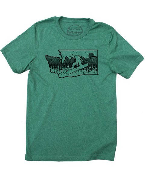 Washington Snowboard T-shirt, Wear Powdery Light Tee's- Elevate the day!