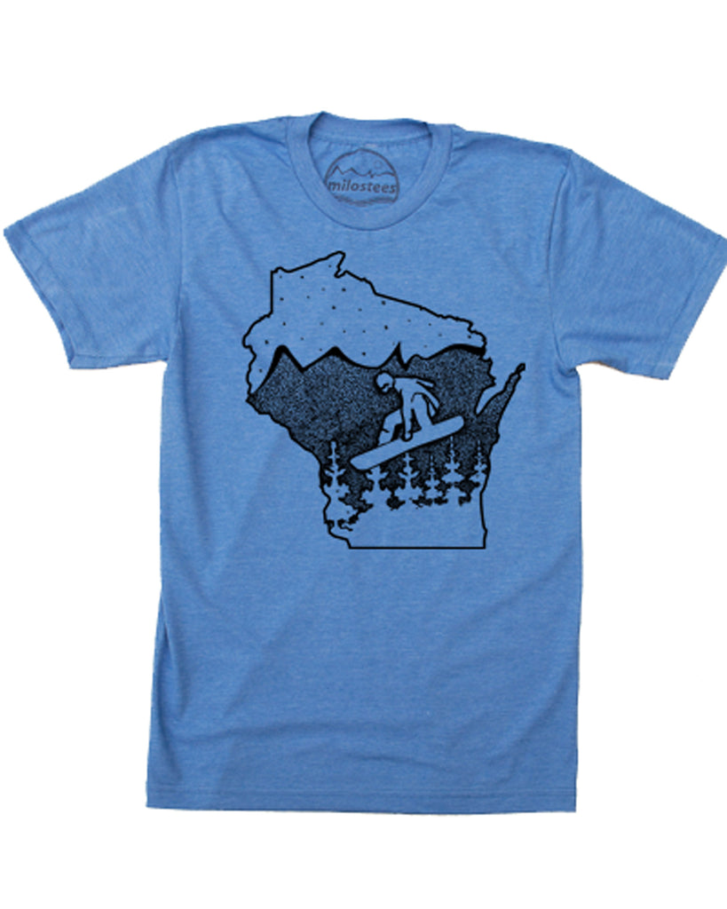 Wisconsin T shirt, Snowboard the Badger State in Soft 50/50 Apparel and Elevate the day!