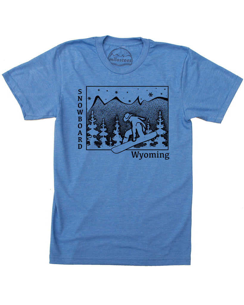 Wyoming Shirt | Snowboard Wyoming Graphic | Hand Screen Print on Soft 50/50 Threads | Free Shipping In USA