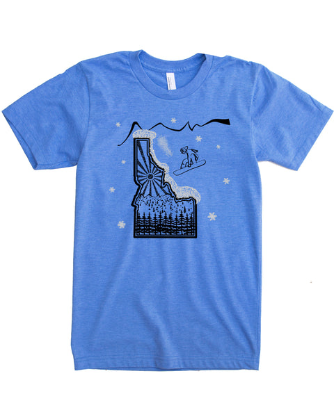 Snowboard Idaho T-shirt - Powdery Soft Cotton/Polyester blend - $21.99, free shipping in USA
