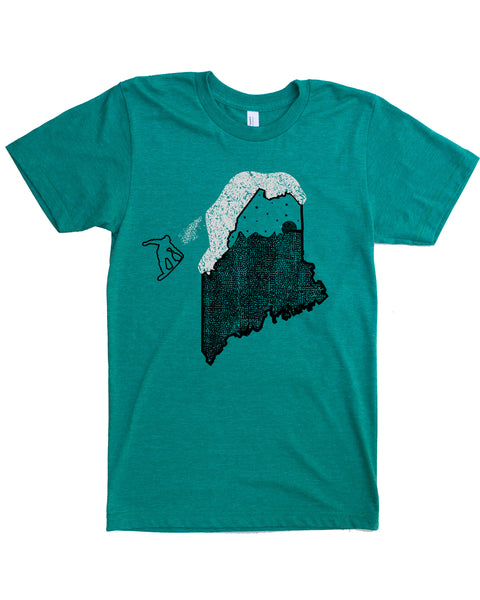 Snowboard Maine T-shirt, Screen Print on Soft Wears