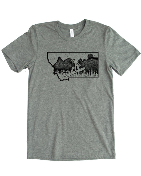 Snowboard Montana Design, Gray Color, 50/50 cotton/polyester blend $21.99, free shipping in USA.