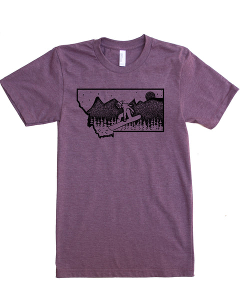 Snowboard Montana Design, Plum Color, 50/50 cotton/polyester blend $21.99, free shipping in USA.