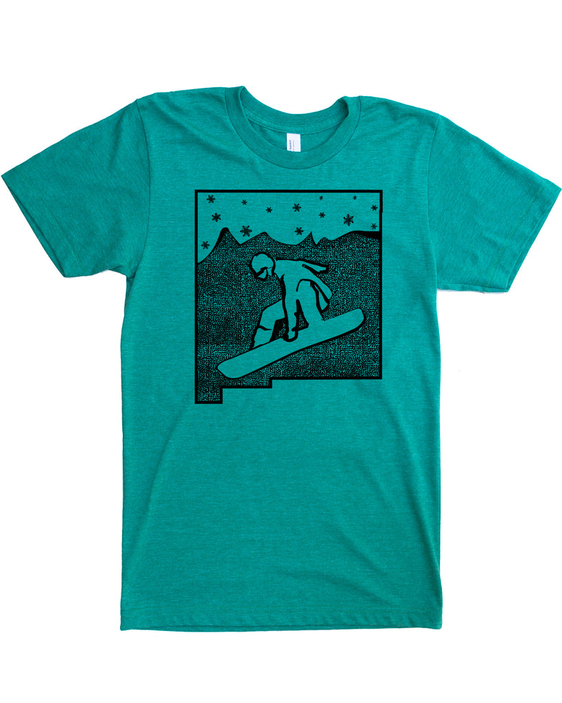New Mexico Snowboard T-shirt, Screen Print on Powdery Soft Threads