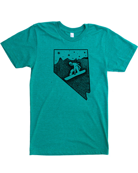 Nevada Snowboard T-shirt, Screen Print on Powdery Soft Threads- Cotton/Polyester Blend.