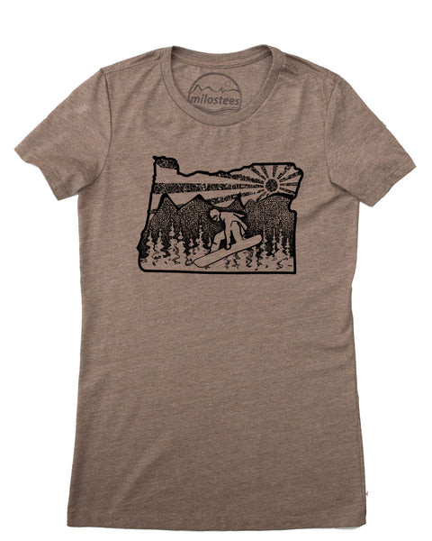 Snowboard Oregon Shirt, Women's Form Fitting Fashion, Soft Threads Screen Printed By Hand