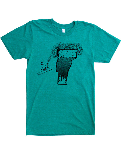 Snowboard Vermont Shirt - Silk Screen Print on Soft 50/50 Threads