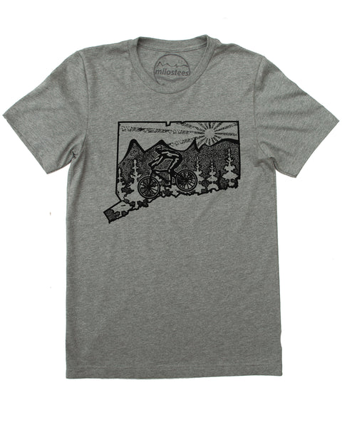 Connecticut Home Shirt with Mountain Bike Flair! Hand Print on Soft 50/50 Tee's