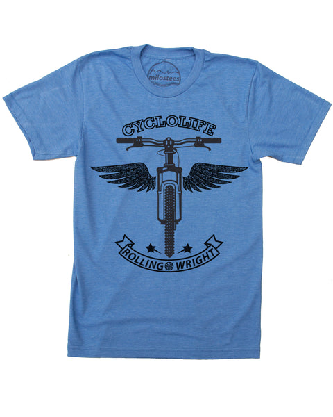 Cycling Shirt | CycloLife Graphic Winged Angel | Hand Screen Printed on soft 50/50 Threads | Elevate the Day!