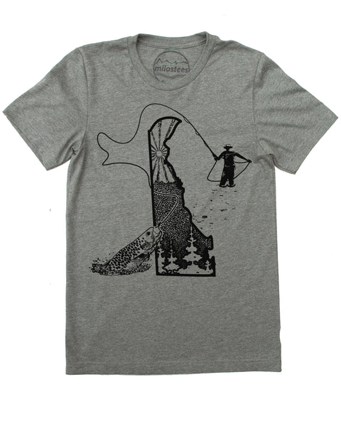 Delaware Home Shirt | Fly Fishing Illustration | Hand Screen Printed on Soft 50/50 Tees | Elevate the Day!