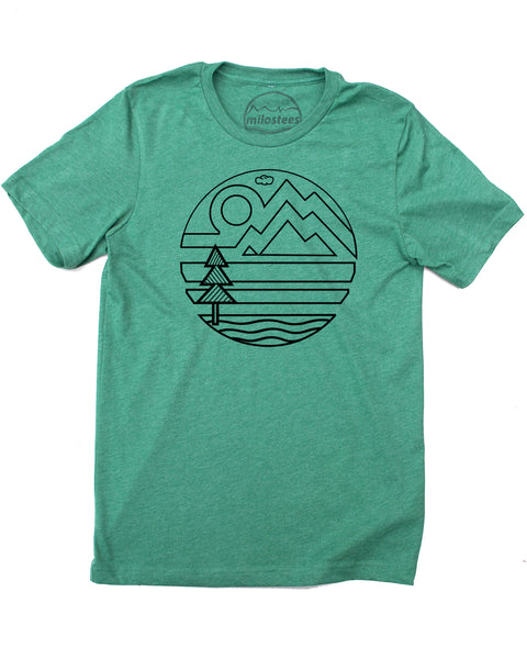 Mountain Design Art Print on Soft Apparel Screen Printed on Soft 50/50 Tee Shirts