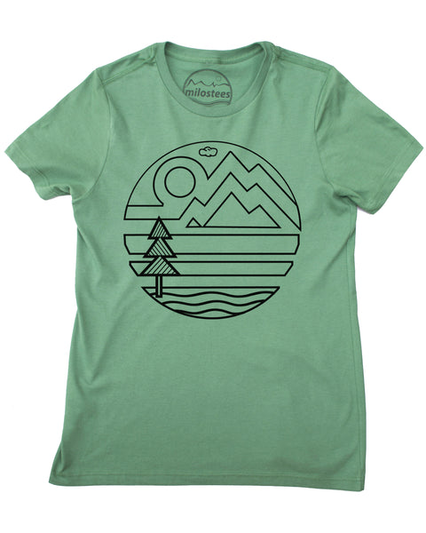 Organic pine shirt with geometric nature design, small thru XXL