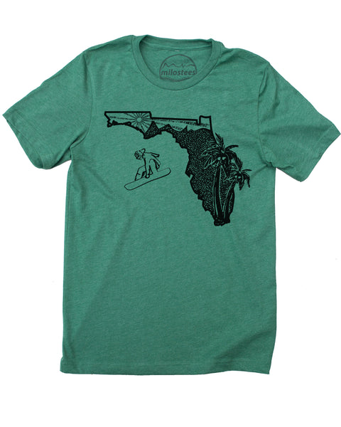 Florida Tee Shirt | Graphic Snowboard Illustration | Hand Screen Printed | Elevate the Day!