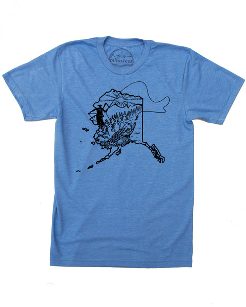 Alaska Fly fishing T-shirt, Graphic Screen Print on Soft 50/50 Tees. Elevate the day!