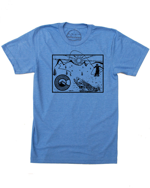 Colorado Fly Fishing T-shirt - Graphic Print on Silky Apparel in a Cotton, Polyester Blend.