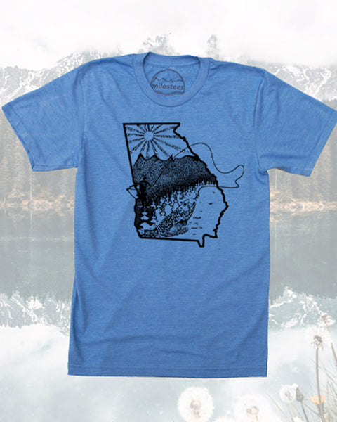 Georgia T Shirt - Fly Fish the Peach State in Soft Graphic Tee and Elevate the Day!