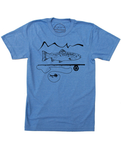 Blue 50/50 tee, graphic screen print of trout and a fly rod with our mountain logo, $21.99, free shipping in the USA.