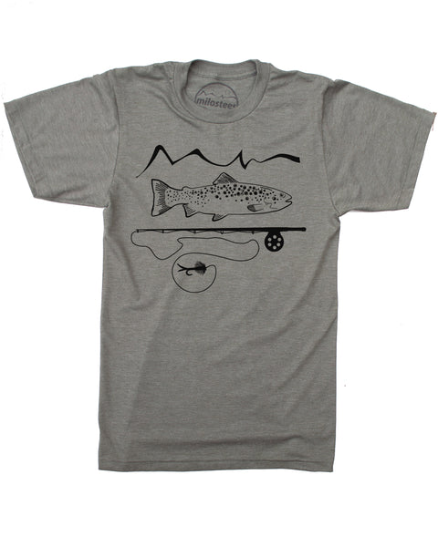 Army green 50/50 tee, graphic screen print of trout and a fly rod with our mountain logo, $21.99, free shipping in the USA.