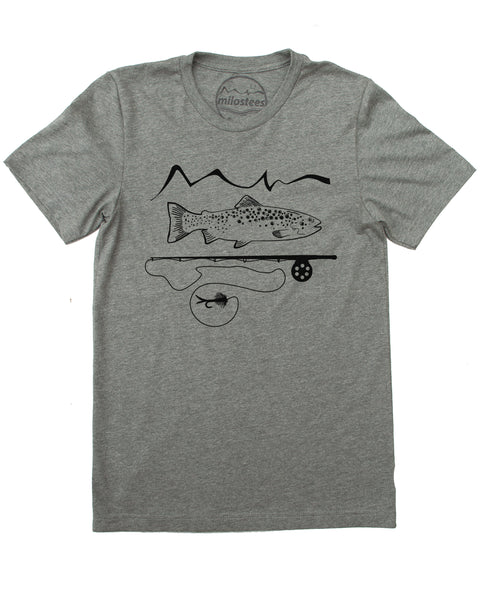 Grey 50/50 tee, graphic screen print of trout and a fly rod with our mountain logo, $21.99, free shipping in the USA.