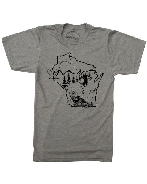 Wisconsin Shirt- Fly Fishing Style with Hand Screen Print on Soft 50/50 Threads