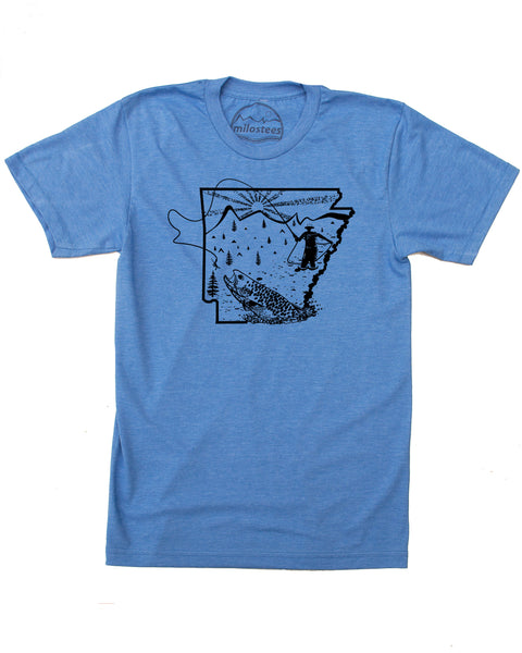 Fly Fish Arkansas T-shirt, silky soft 50/50 apparel screen printed by hand!