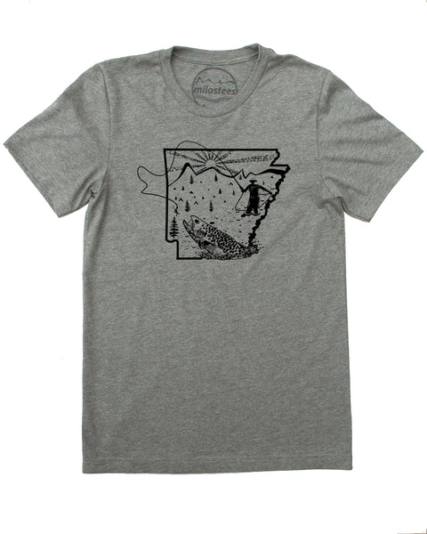 Fly Fish Arkansas T-shirt, silky soft apparel screen printed by hand!