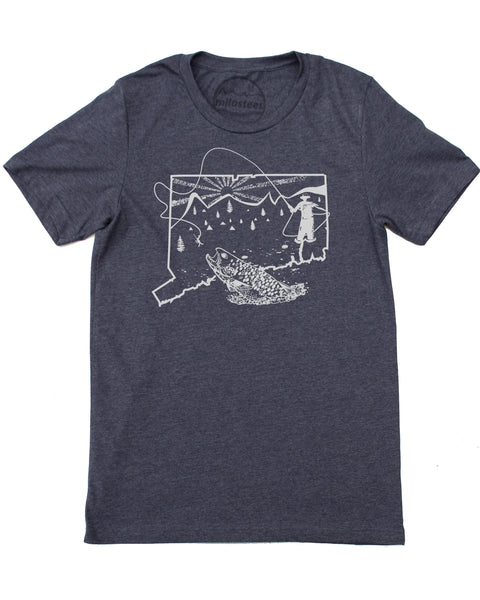 Connecticut Fly Fishing T-shirt- Fish the Farmington River is Soft Fishing Apparel a 50/50 blend- Elevate the day! $21.99, free shipping in USA