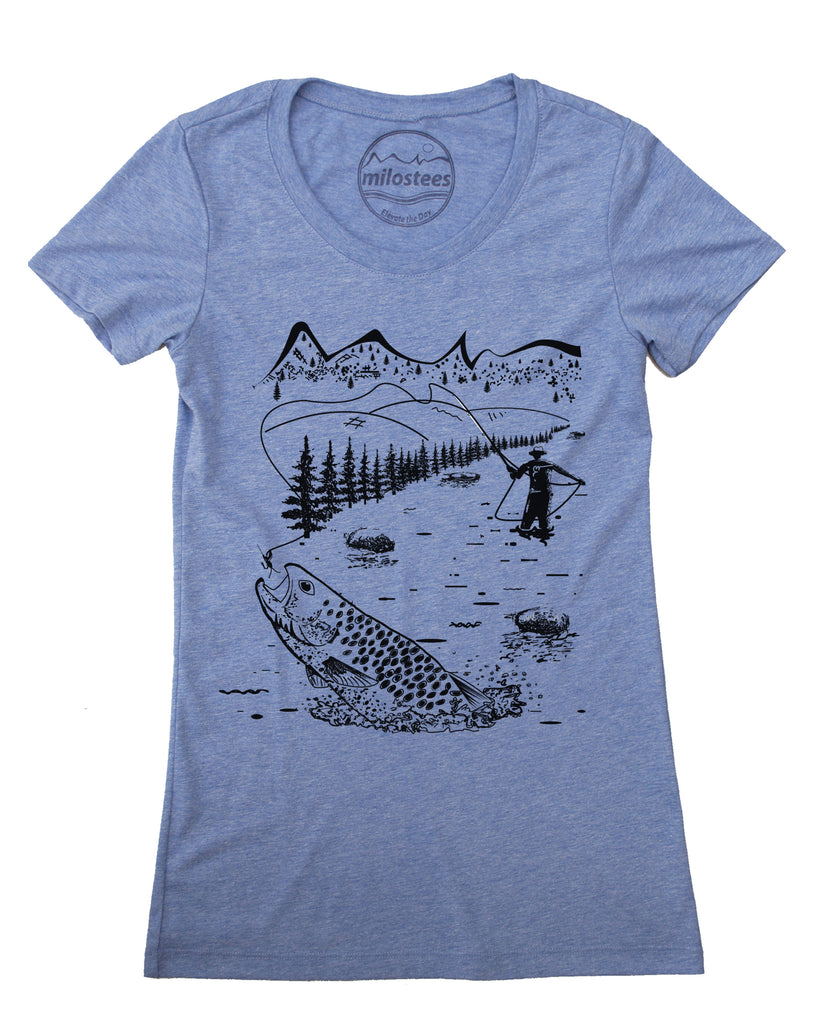 Fly fishing tee- Graphic Illustration- Women's form fitting and Loose fit Styles