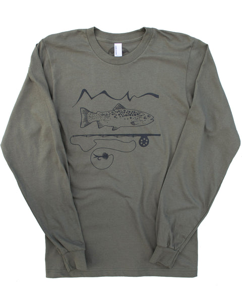 Army green long sleeve 90% cotton, 10% polyester tee, graphic screen print of trout and a fly rod with our mountain logo, $21.99, free shipping in the USA.