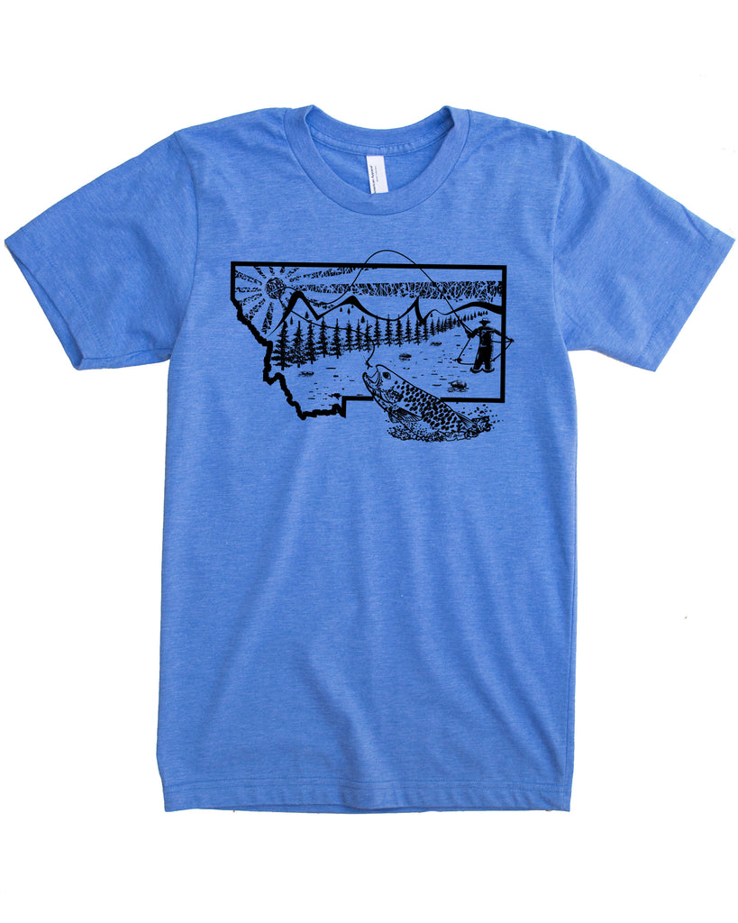 Montana Fly Fishing Shirt - Color Blue - Cotton Polyester Blend