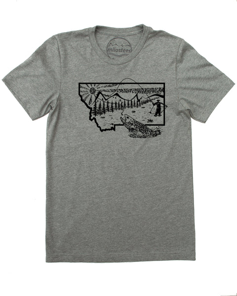 Fly Fish Montana - Mountain Scene - Tee's as Silky Smooth as a Fly Cast!