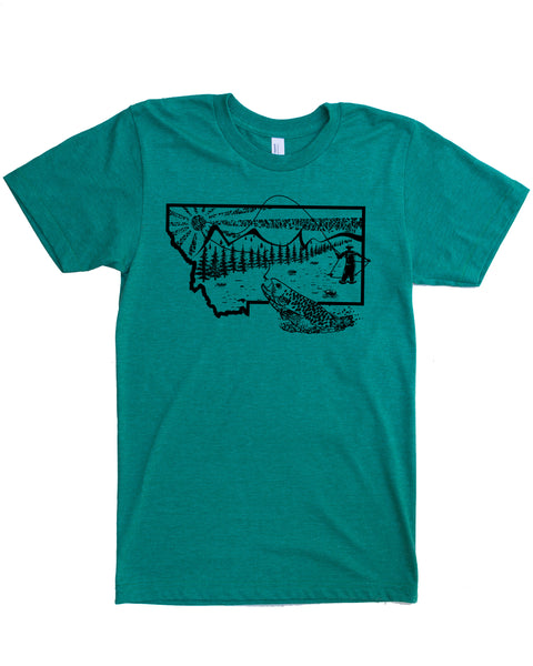 Montana Fly Fishing Shirt - Color Vintage Green - Cotton Polyester Blend