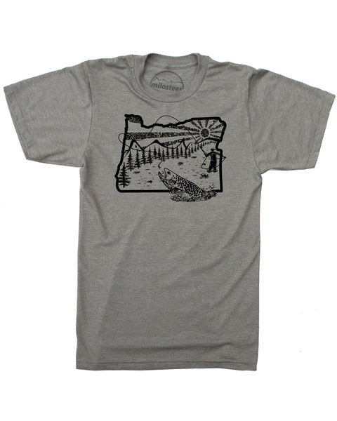 Fly Fish Oregon T-shirt - Soft Threads Screen Printed Art for a Fisherman