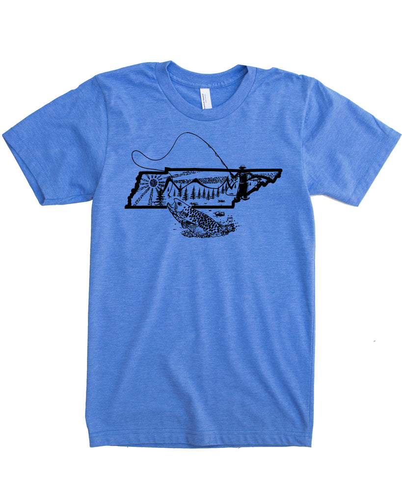 Graphic Tennessee State Fly Fishing Shirt- blue color- $21.99, free shipping