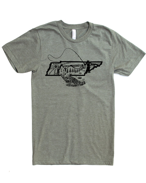 Graphic Tennessee State Fly Fishing Shirt- lieutenant color- $21.99, free shipping