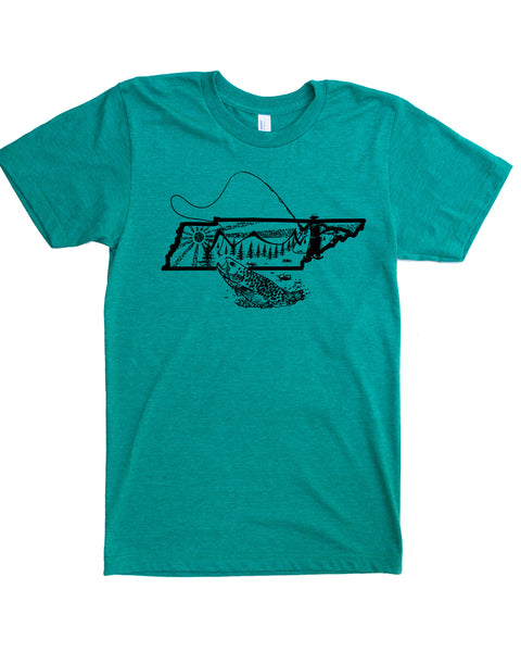 Graphic Tennessee State Fly Fishing Shirt- green color- $21.99, free shipping
