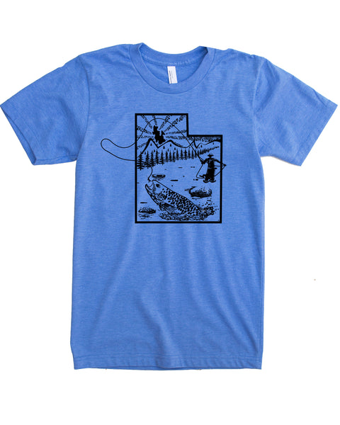 Fly Fish Utah Shirt- Graphic Print on Soft 50/50 Tee.