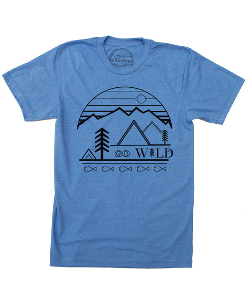 Go Wild Print- Blue Shirt Cotton, Polyester Blend- Free Shipping in USA