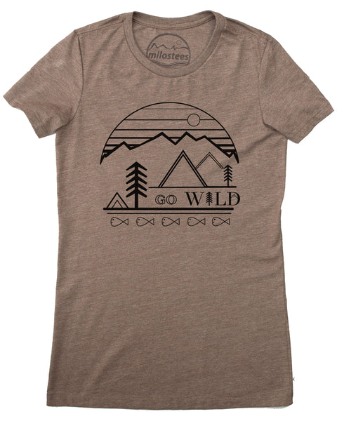 Go Wild graphic screen print on a coffee colored tee in a form fitting style, 50/50 blend.