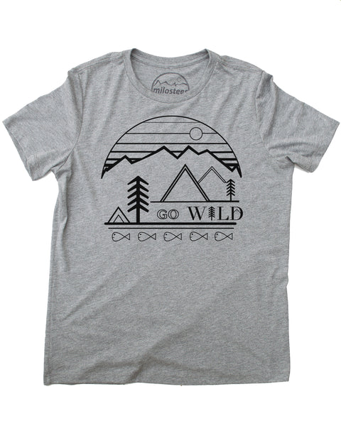 Go Wild graphic screen print on a gray colored tee in a loose fit style, 50/25/25 blend.