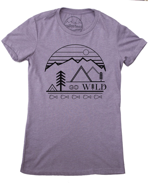 Go Wild graphic screen print on a light purple colored tee in a form fitting style, 50/50 blend.